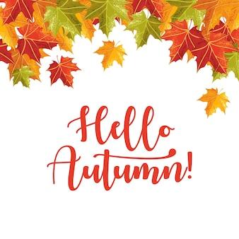 Feuilles tombantes avec texte bonjour automne