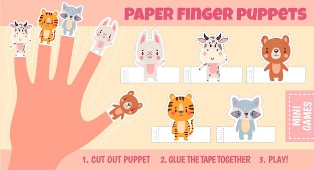 Feuilles de travail de marionnettes à doigts d'animaux en papier pour la main des enfants. activité de théâtre à la main. les enfants ont coupé la page d'artisanat avec le modèle vectoriel de poupées de dessin animé