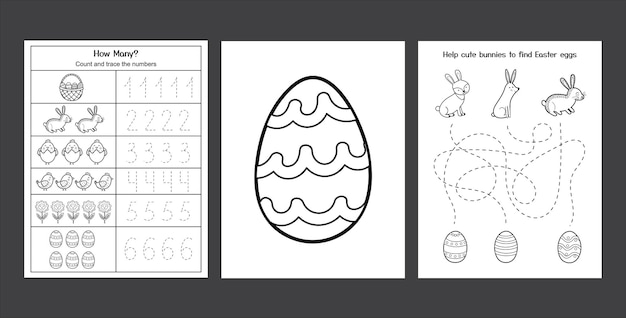 Feuilles de travail de pâques avec de mignons lapins et poussins collection de pages d'activités de printemps en noir et blanc pour les enfants coloriage avec lapin et œufs pratique d'écriture de pâques