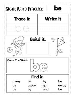 Feuilles de travail sur la pratique des mots à vue à la maternelle