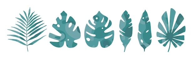 Feuilles tropicales abstraites icône verte sur fond blanc