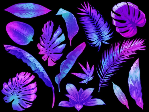 Feuilles tropicales au néon. feuille d'arbre et de plante exotique de couleur, feuilles de palmier colorées ensemble d'illustration dessiné à la main