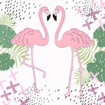 Feuilles tropicales et bannière flamingo summer