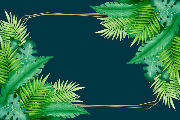 Feuilles tropicales et cadre espace copie