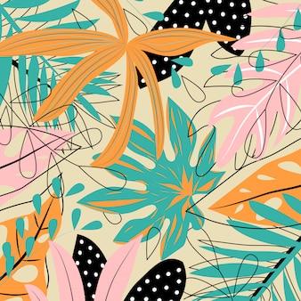 Feuilles tropicales colorées sur fond clair
