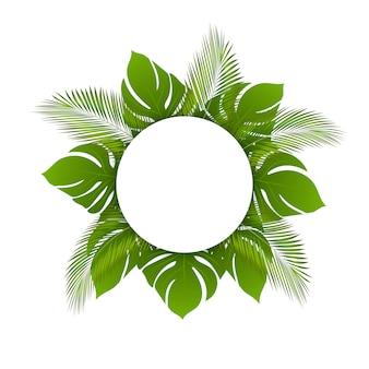 Feuilles tropicales d'été tendance beau vecteur, fond de cadre rond