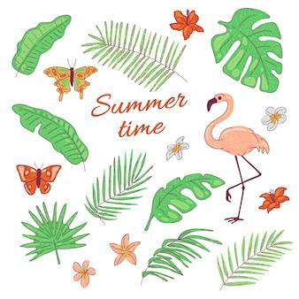 Feuilles tropicales fleurs papillon flamant rose noix de coco exotique et palmier bananier. illustration d'été