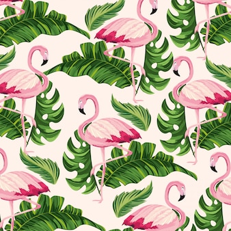 Feuilles tropicales et fond animal flamand