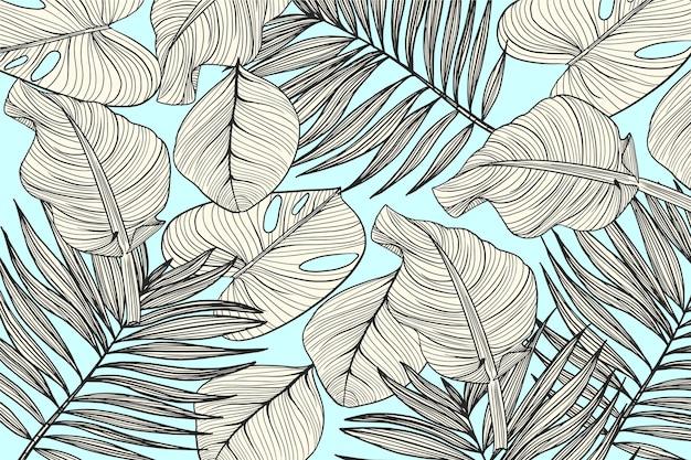 Feuilles Tropicales Avec Fond De Couleur Pastel Vecteur gratuit