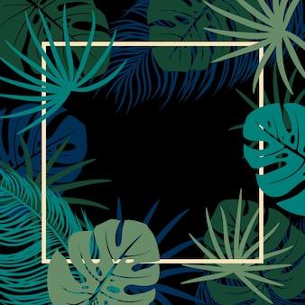 Feuilles tropicales sur fond noir avec espace copie