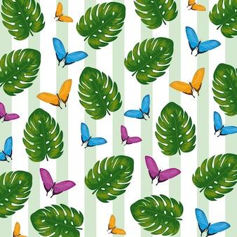 Feuilles tropicales sur fond de papillons exotiques