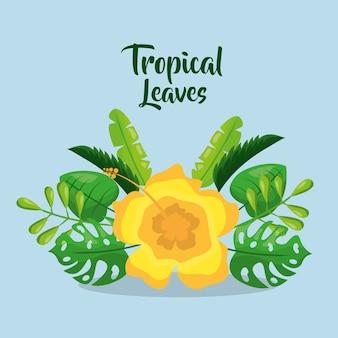Feuilles tropicales invitation carte yelow fleur décoration