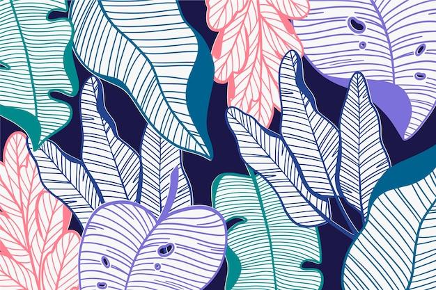 Feuilles tropicales linéaires dans le thème de la couleur pastel