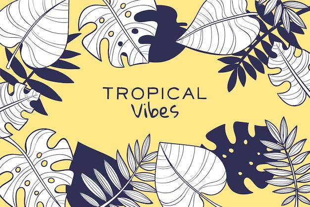 Feuilles tropicales linéaires avec fond de couleur pastel