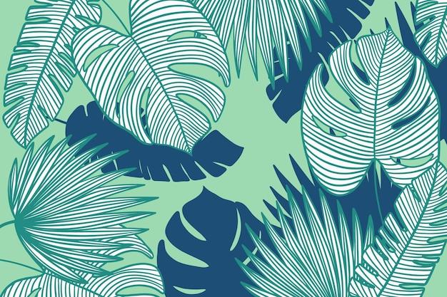 Feuilles tropicales linéaires avec papier peint de couleur pastel