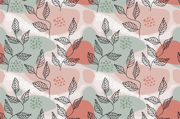 Feuilles tropicales et modèle sans couture de fleur