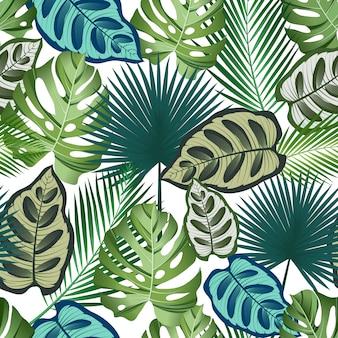Feuilles tropicales modèle sans couture
