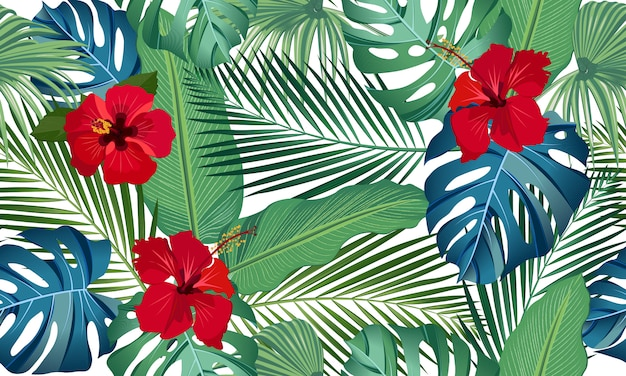 Feuilles tropicales de modèle vectorielle continue avec fleur d'hibiscus rouge