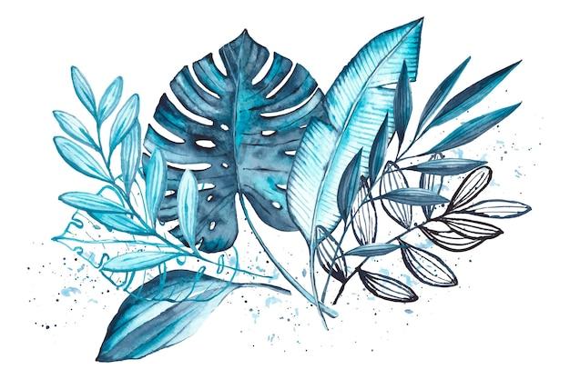 Feuilles tropicales monochromes