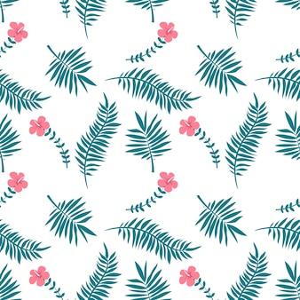 Feuilles tropicales, monstera, palmiers sur fond blanc.
