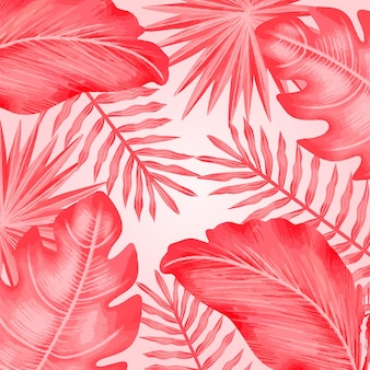 Feuilles tropicales roses monochromes