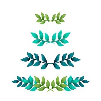 Feuilles tropicales séparateurs ou bordures de texte floral