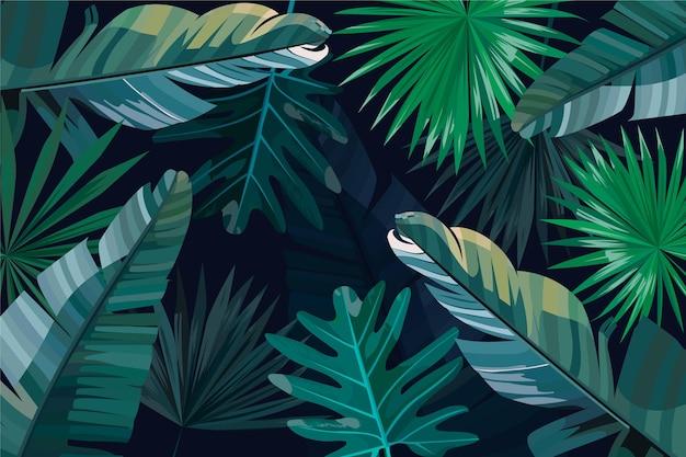 Feuilles tropicales vertes et argentées