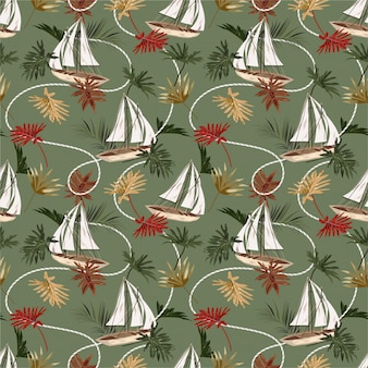 Feuilles tropicales vintage, bateau et modèle sans couture de corde de marin dans un style dessiné à la main