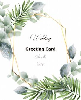Feuilles vertes décor de cadre de carte. modèle de carte de voeux de mariage