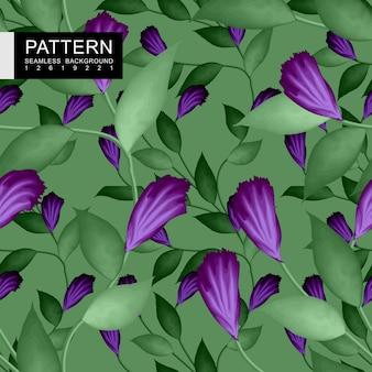 Feuilles vertes et dessin sans soudure de fleurs violettes