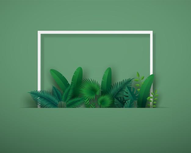 Feuilles vertes ou feuillage avec cadre carré blanc.