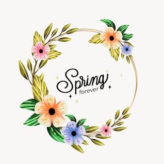 Feuilles vertes et fleurs cadre floral printemps aquarelle