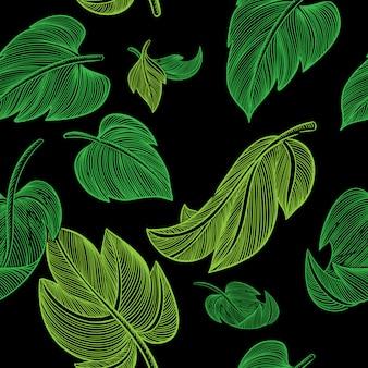 Feuilles vertes sur fond noir sans soudure