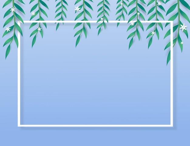 Feuilles vertes, mini fleurs et cadre sur fond bleu.