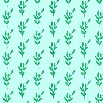 Feuilles vertes modèle sans couture fougère différentes branches naturelles de feuillage d'arbre