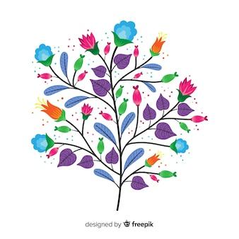 Feuilles violettes et fleurs printanières au design plat