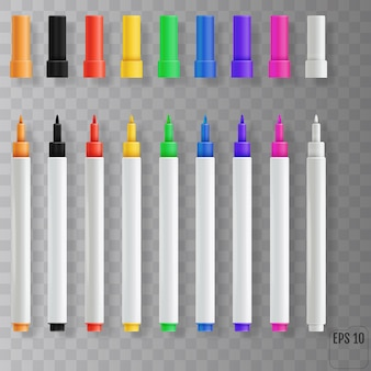 Feutres à pointe. ensemble de marqueurs colorés