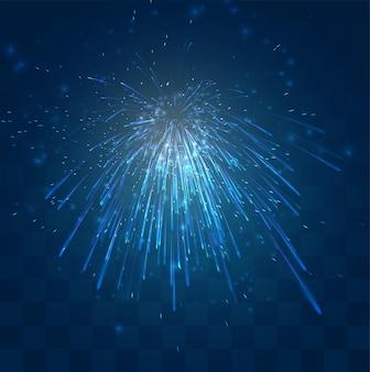 Feux d'artifice bleus, explosion sur fond bleu foncé avec mosaïque, design modifiable facile