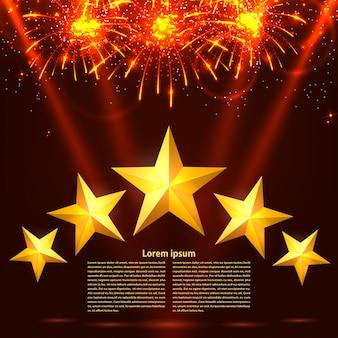 Feux d'artifice colorés, des rayons et des étoiles sur un modèle de fond rouge. carte de vacances. illustration vectorielle