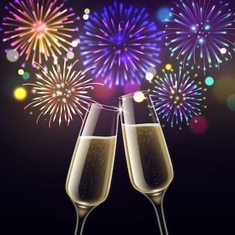 Feux d'artifice et coupes de champagne. félicitations toast noël et acclamations bonne année, anniversaire et célébration de mariage. vin mousseux deux verres à vin et affiche réaliste de vecteur de salut lumineux