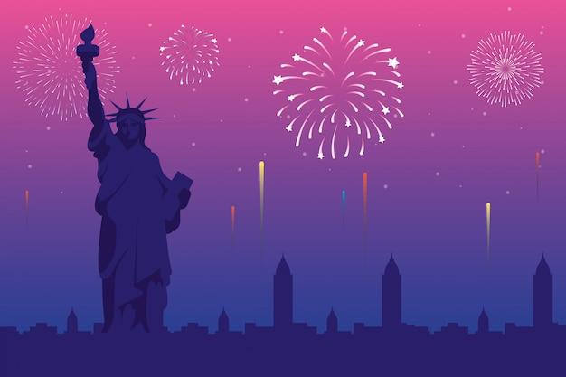 Feux d'artifice explosions avec scène de la ville de new york en fond rose
