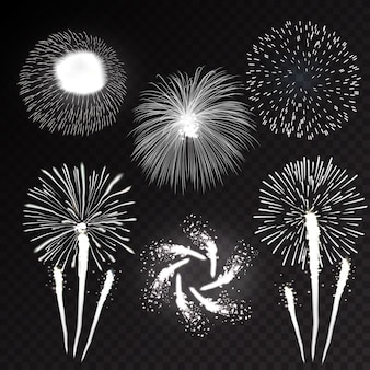 Feux d'artifice festif éclatant avec motif sous diverses formes icônes scintillantes mis illustration abstraite fond noir