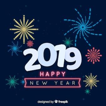 Feux d'artifice nouvel an 2019 fond