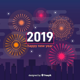 Feux d'artifice nouvel an 2019 fond