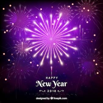 Feux d'artifice de nouvel an violet