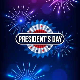 Feux d'artifice pour la célébration de l'événement de la journée des présidents