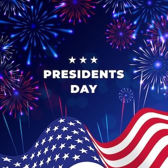 Feux d'artifice pour l'événement de la journée du président