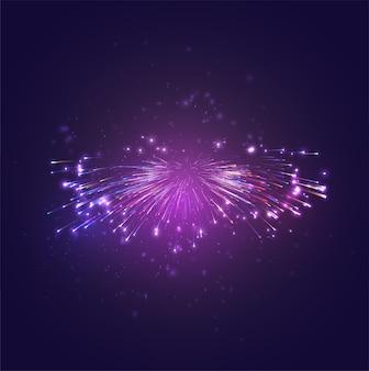 Feux d'artifice de vecteur multicolore, explosion de joie dans le ciel
