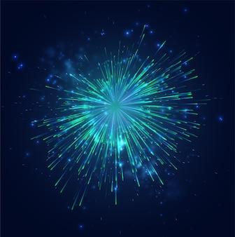 Feux d'artifice verts et bleus dans le ciel nocturne, ensemble festif d'étincelles et d'humeurs