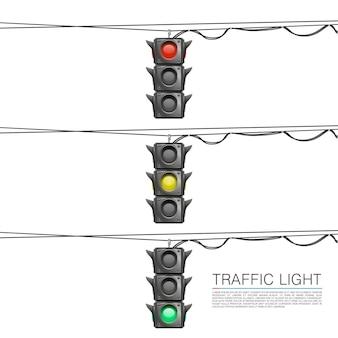 Feux de circulation sur fond blanc. illustration vectorielle